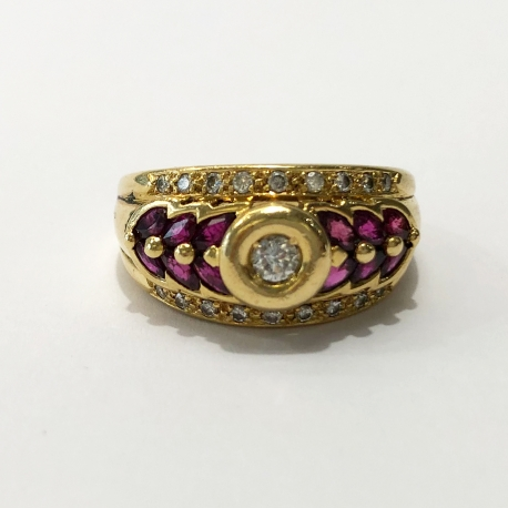 Rubis and diamond fish scales ring