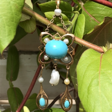 Turquoise and Pearl Talisman