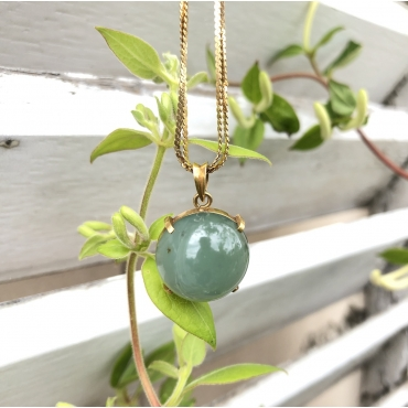 Half sphere Jade and Gold Pendant
