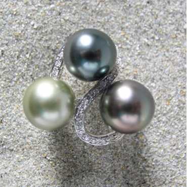 The Three of us Tahitian Pearl Ring