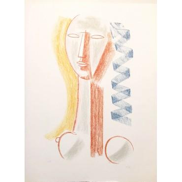 Lithographie M.Tozzi Femme bleu